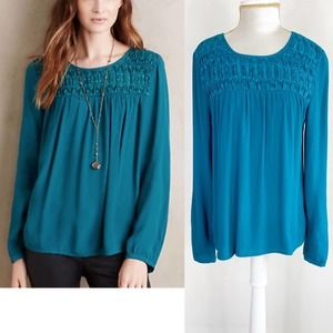 Anthropologie Meadow Rue Turquoise Teal Smock Top